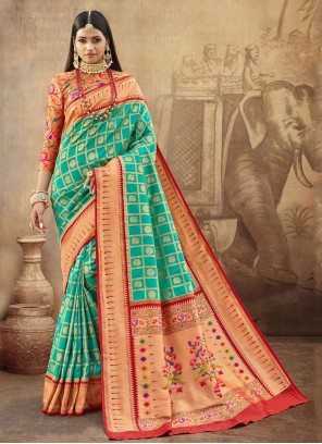 Turquoise Ceremonial Bollywood Saree