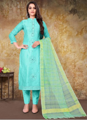 Turquoise Chanderi Embroidered Designer Straight Suit
