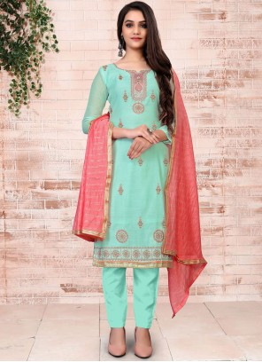 Turquoise Chanderi Pant Style Suit
