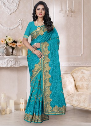 Turquoise Color Contemporary Style Saree