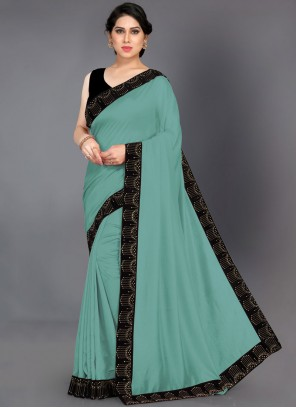 Turquoise Color Designer Saree