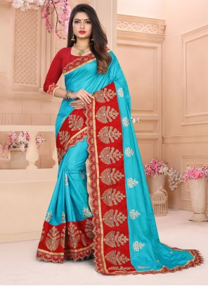 Turquoise Color Designer Traditional Saree