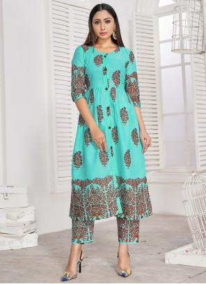Turquoise Color Party Wear Kurti