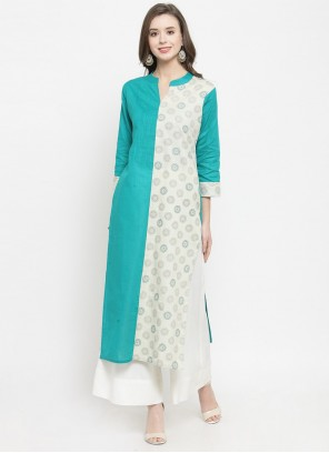 Turquoise Cotton Festival Party Wear Kurti