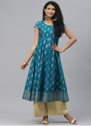 Turquoise Cotton Print Designer Kurti