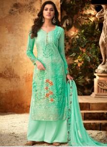 Turquoise Designer Palazzo Salwar Kameez