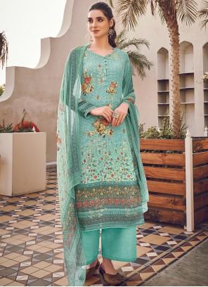 Turquoise Digital Print Designer Pakistani Suit