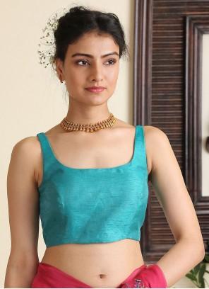 Turquoise Dupion Silk Designer Blouse