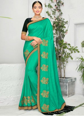 Turquoise Embroidered Art Silk Classic Saree