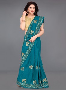 Turquoise Embroidered Casual Printed Saree