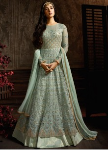 Turquoise Embroidered Ceremonial Desinger Anarkali Suit