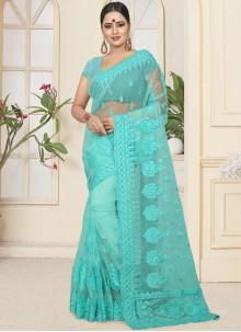 Turquoise Embroidered Classic Designer Saree