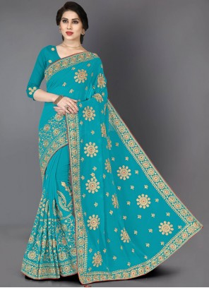 Turquoise Embroidered Faux Georgette Designer Saree