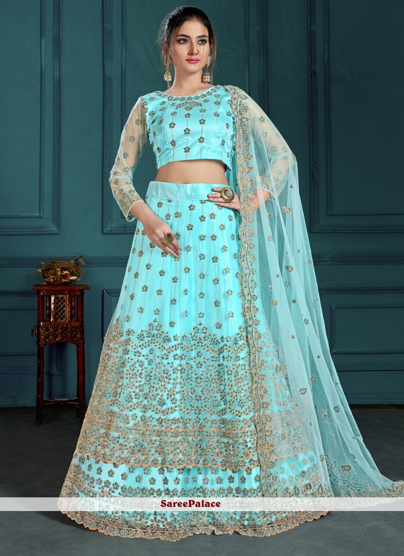 Turquoise Embroidered Lehenga Choli