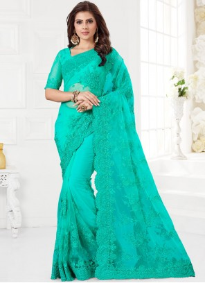 Turquoise Embroidered Net Classic Saree