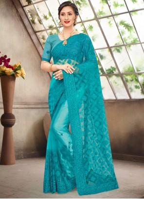 Turquoise Embroidered Net Designer Saree