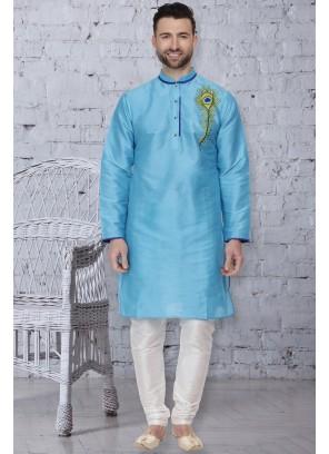 Turquoise Embroidered Sangeet Kurta Pyjama