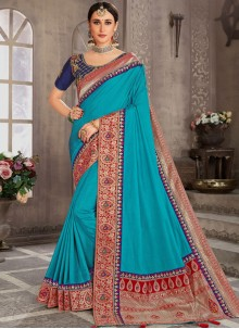 Turquoise Embroidered Silk Classic Designer Saree