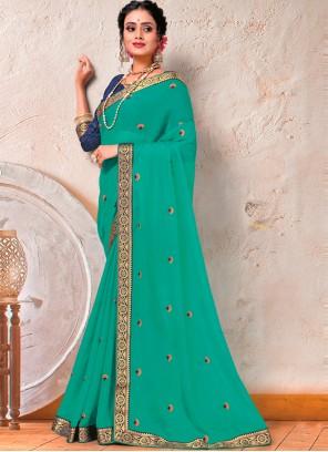 Turquoise Faux Chiffon Classic Designer Saree