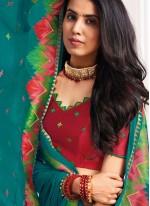 Turquoise Festival Classic Designer Saree