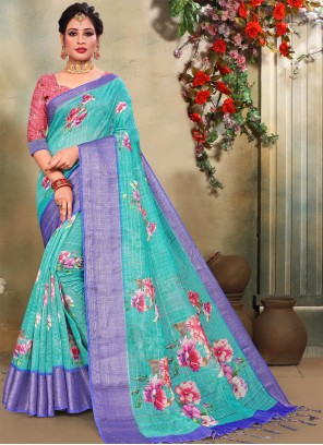 Turquoise Floral Print Printed Saree