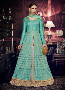 Turquoise Handloom silk Floor Length Anarkali Suit