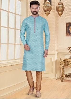 Turquoise Jacquard Mehndi Kurta Pyjama