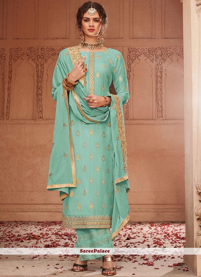 Turquoise Jacquard Palazzo Salwar Suit
