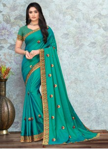 Turquoise Lace Classic Saree