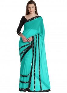 Turquoise Lace Designer Saree
