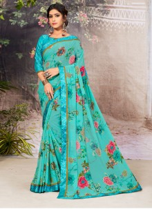 Turquoise Lace Faux Georgette Casual Saree