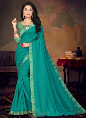 Turquoise Lace Festival Traditional Saree