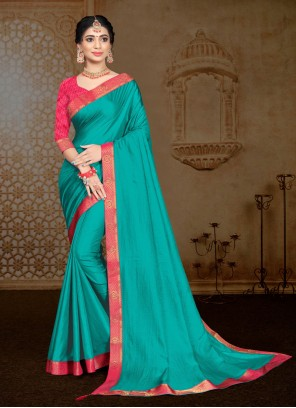 Turquoise Lace Vichitra Silk Classic Saree