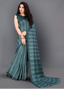 Turquoise Manipuri Silk Classic Saree