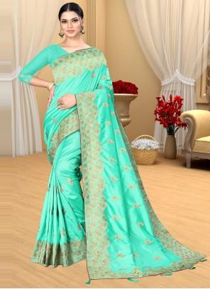 Turquoise Mehndi Designer Saree