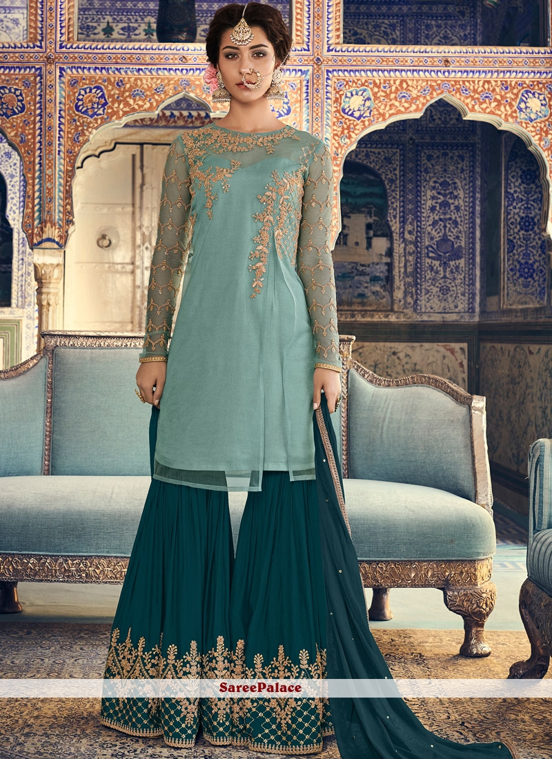 Turquoise Mehndi Net Designer Palazzo Salwar Kameez