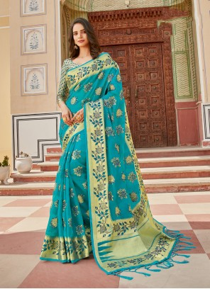 Turquoise Organza Weaving Traditional Saree
