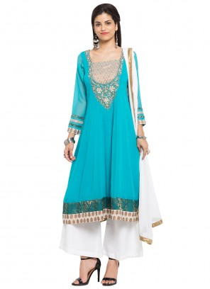 Turquoise Patchwork Mehndi Readymade Salwar Kameez