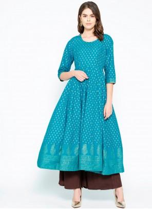 Turquoise Print Cotton Designer Kurti