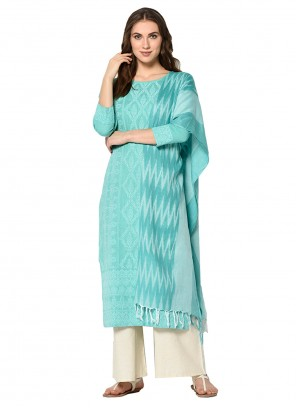 Turquoise Print Salwar Suit