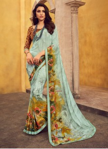 Turquoise Printed Georgette Casual Saree
