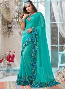 Turquoise Printed Classic Saree