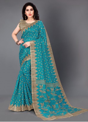 Turquoise Printed Festival Traditional Saree