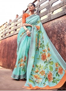 Turquoise Printed Silk Casual Saree