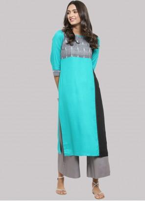Turquoise Rayon Fancy Party Wear Kurti
