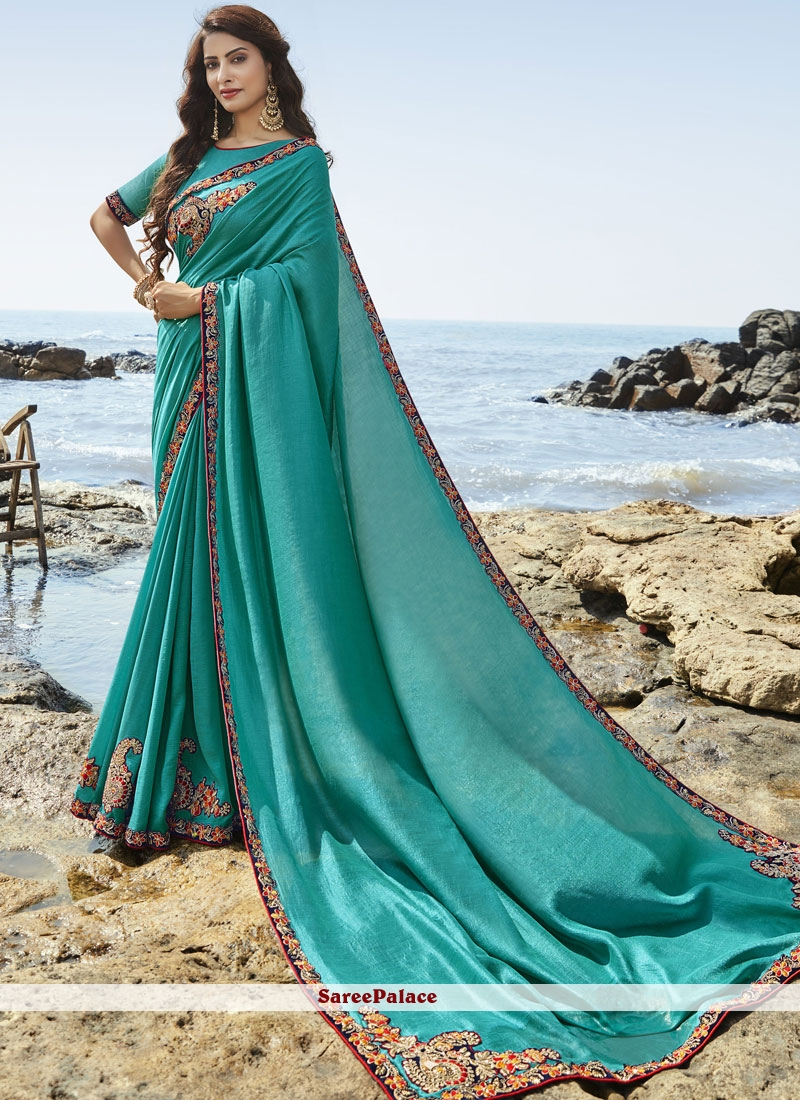 Turquoise Resham Party Designer Saree