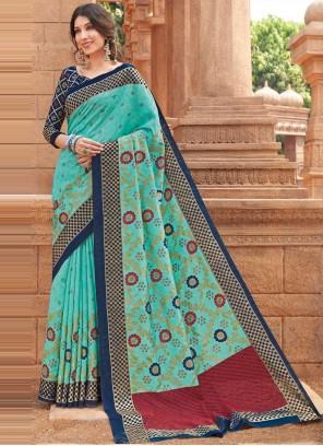 Turquoise Silk Ceremonial Traditional Designer Saree