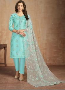 Turquoise Thread Cotton Salwar Kameez