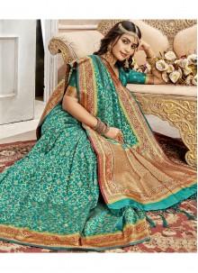 Turquoise Weaving Art Silk Saree