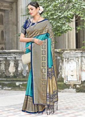 Turquoise Weaving Engagement Traditional Designer Saree